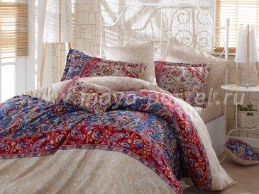 Постельное белье «CATERINA» кремовое с красным, сатин, семейное в интернет-магазине Моя постель