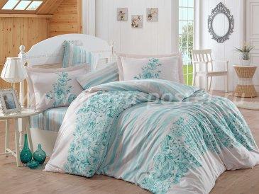 Бирюзовое постельное белье из сатина «SERENA», евро в интернет-магазине Моя постель
