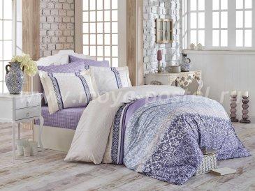 Постельное белье из сатина «LAURA», лиловое, евро в интернет-магазине Моя постель