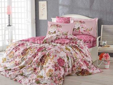 Розовое постельное белье «ROSANNA» из сатина, с цветами,евро в интернет-магазине Моя постель