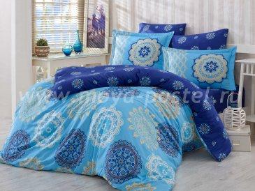 Семейный комплект постельного белья «OTTOMAN», сатин, голубой в интернет-магазине Моя постель