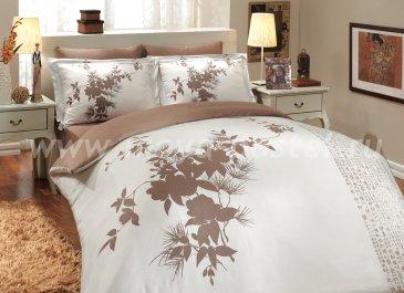 Постельное белье «ESTATE» из сатина, коричневый с белым, семейное в интернет-магазине Моя постель