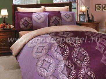Фиолетовое постельное белье «GRIS» из сатина, евро, фракталы в интернет-магазине Моя постель