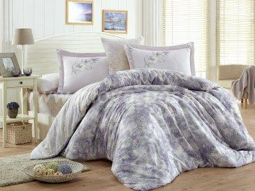 Постельное белье из сатина «ROMINA», евро, лиловое в интернет-магазине Моя постель
