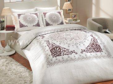 Постельное белье из сатина с бордовым орнаментом «SAPHIRE», семейное в интернет-магазине Моя постель