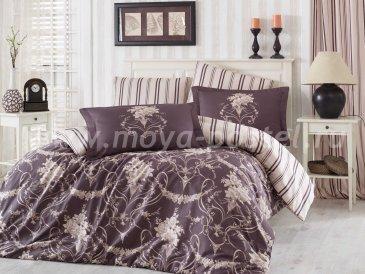 Коричневое постельное белье «ORNELLA», евро размер, сатин в интернет-магазине Моя постель