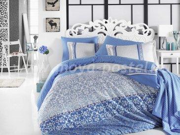 Постельное белье из сатина «LAURA», синее, евро в интернет-магазине Моя постель
