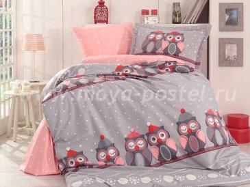 Серое постельное белье с принтом совушек «LINDA» из поплина, полутороспальное в интернет-магазине Моя постель