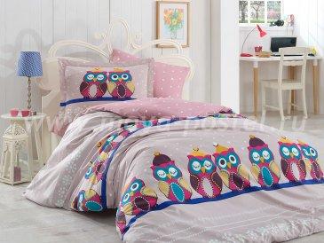 Лиловое постельное белье с принтом совушек «LINDA» из поплина, полутороспальное в интернет-магазине Моя постель