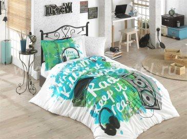Постельное белье из поплина «LIVE MUSIC», бирюзовое с музыкальным принтом, полутороспальное в интернет-магазине Моя постель