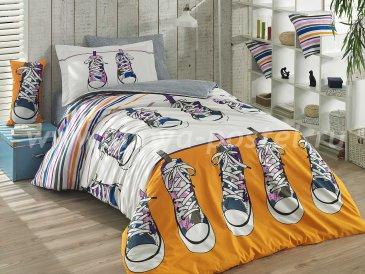 Постельное белье из поплина «LAYLA» желтое с принтом кед, полутороспальное в интернет-магазине Моя постель