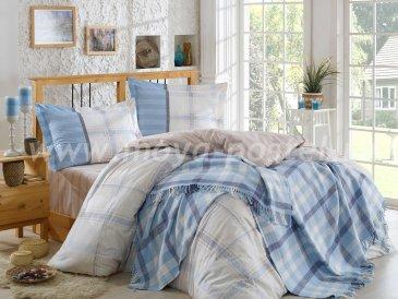 Евро постельное белье с покрывалом «CARMELA», поплин, серо-голубое в интернет-магазине Моя постель