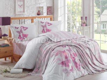 Евро постельное белье с покрывалом «SUENO», поплин, розовое в интернет-магазине Моя постель