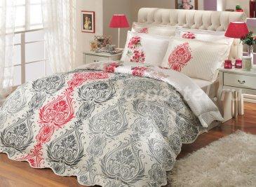 Серое с красным постельное белье с двусторонним стеганым покрывалом «VIYELLA-ROYAL», двуспальное в интернет-магазине Моя постель