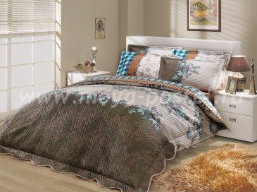 Коричнево-синее постельное белье с двусторонним стеганым покрывалом «DELFINA-SERENA», двуспальное в интернет-магазине Моя постель