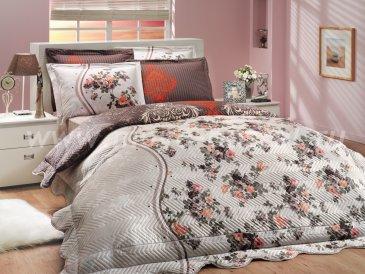 Красно-коричневое постельное белье с двусторонним стеганым покрывалом «SUSANA-ROYAL», двуспальное в интернет-магазине Моя постель