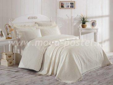 Кремовое постельное белье с покрывалом «ELITE SET» из сатина, евро в интернет-магазине Моя постель