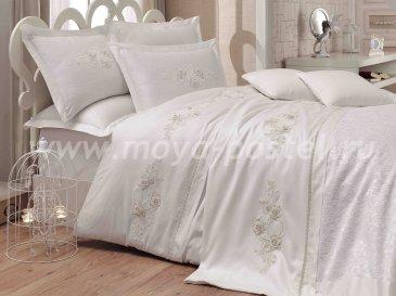 Постельное белье с покрывалом «ARIENDA» из сатина, кремовое, евро в интернет-магазине Моя постель