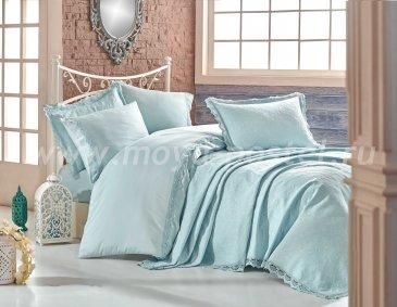 Мятное постельное белье с покрывалом «ELITE SET» из сатина, евро в интернет-магазине Моя постель