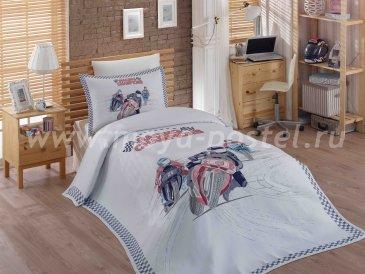 Белое постельное белье «LE-MAN» из сатина, полутороспальное, с покрывалом из жаккарда  в интернет-магазине Моя постель