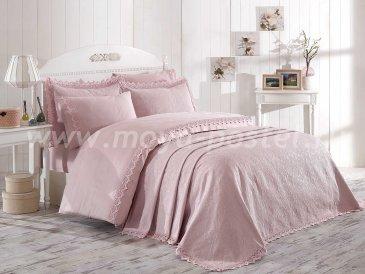 Розовое постельное белье с покрывалом «ELITE SET» NEW из сатина, евро в интернет-магазине Моя постель