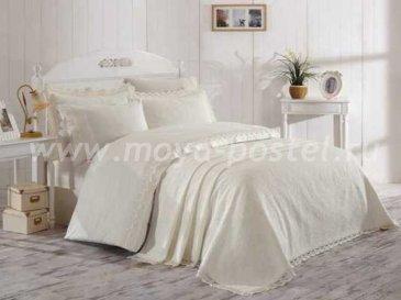 Кремовое элитное постельное белье с покрывалом «ELITE SET» NEW из сатина, евро в интернет-магазине Моя постель