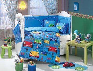 Синее постельное белье из поплина «CARS» с одеялом, детское в интернет-магазине Моя постель