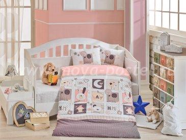 Детское постельное белье персикового цвета «SWEET HOME» с одеялом, поплин в интернет-магазине Моя постель