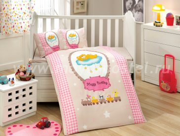 Детское постельное белье с одеялом «BAMBAM» розового цвета, поплин в интернет-магазине Моя постель