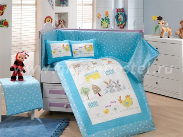 Детское постельное белье «ZOO» с одеялом, голубое, поплин в интернет-магазине Моя постель