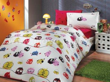 """Комплект постельного белья детское поплин """"CRAZY BIRDS"""", фуксия, 100% Хлопок в интернет-магазине Моя постель"""