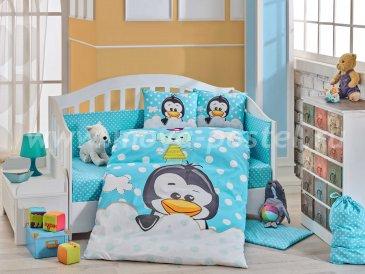Синее постельное белье «PENGUIN» из поплина, детское в интернет-магазине Моя постель