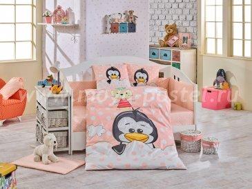 Детское постельное белье из поплина «PENGUIN» персиковое, с одеялом в интернет-магазине Моя постель