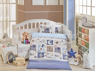 Синее постельное белье «SWEET HOME» из поплина, детское в интернет-магазине Моя постель