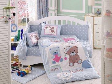 Постельное белье из поплина «PONPON» с одеялом, голубое, поплин в интернет-магазине Моя постель