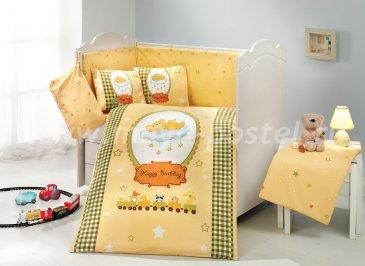Детское постельное белье с одеялом «BAMBAM» желтого цвета, поплин в интернет-магазине Моя постель