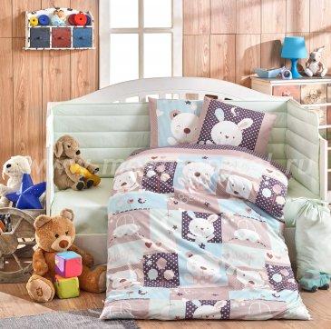 Детское постельное белье «SNOOPY» фиолетовое с голубым, поплин в интернет-магазине Моя постель