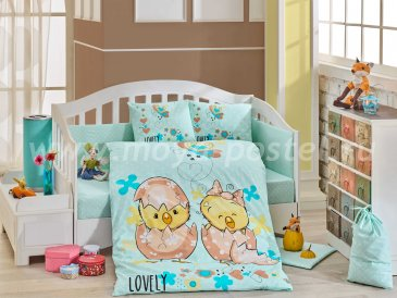 Постельное белье для детей «LOVELY» с одеялом, бирюзовое, поплин в интернет-магазине Моя постель