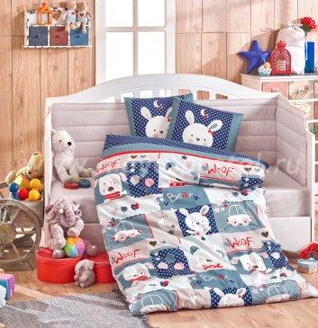Синее постельное белье из поплина «SNOOPY» с одеялом, детское в интернет-магазине Моя постель