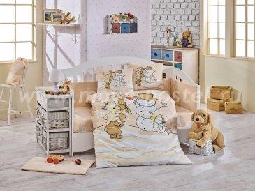 Детское постельное белье из поплина «SNOWBALL», бежевое в интернет-магазине Моя постель