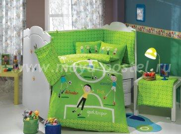 Детское постельное белье с одеялом «SOCCER» из поплина, зеленое в интернет-магазине Моя постель