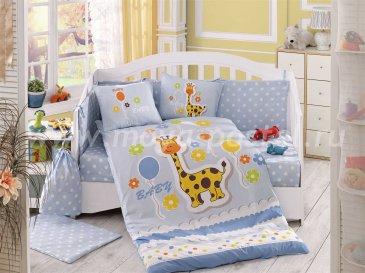 Голубое постельное белье с одеялом «PUFFY» из поплина, детское в интернет-магазине Моя постель