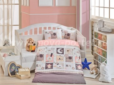 Персиковое постельное белье «SWEET HOME» из поплина, детское в интернет-магазине Моя постель