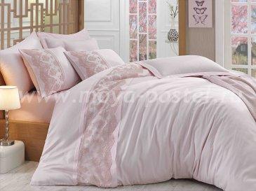 Постельное белье розового цвета «REYNA» с кружевом, сатин, евро в интернет-магазине Моя постель