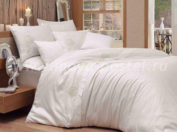 Белое постельное белье из сатина с кружевом «ANTONIA», евро в интернет-магазине Моя постель