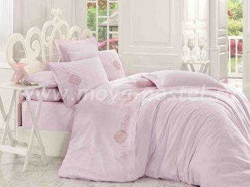 Розовое постельное белье из сатина с кружевом «ANTONIA», евро в интернет-магазине Моя постель