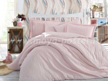 Семейное постельное белье «STRIPE» нежно-розового цвета, сатин-жаккард в интернет-магазине Моя постель