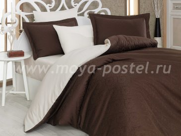Евро комплект постельного белья «DAMASK», коричневый с кремовым, сатин-жаккард в интернет-магазине Моя постель