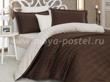 Коричнево-кремовое постельное белье «BULUT», сатин-жаккард, полутороспальное в интернет-магазине Моя постель