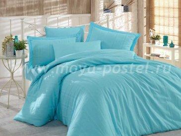 Постельное белье евро размера «STRIPE», сатин-жаккард, голубое в интернет-магазине Моя постель